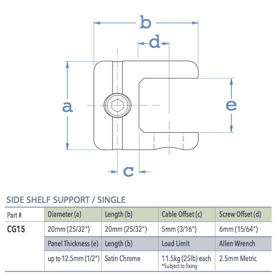 Specifications for CG15