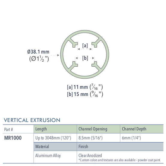 Specifications for MR1000/72/L