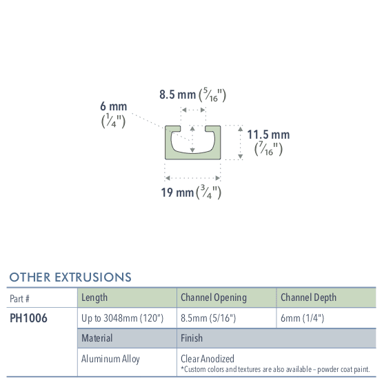 Specifications for PH1006/72/L