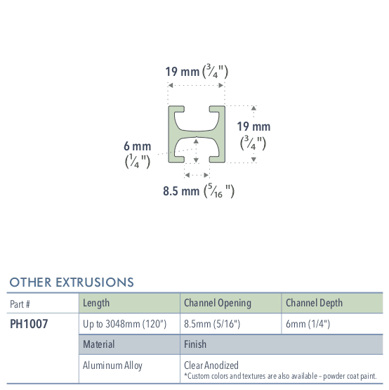 Specifications for PH1007/72/L
