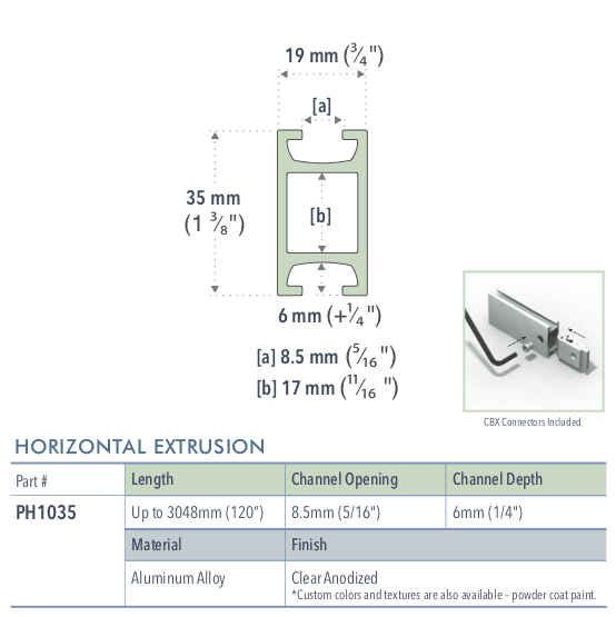 Specifications for PH1035/72/L