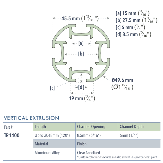 Specifications for TR1400