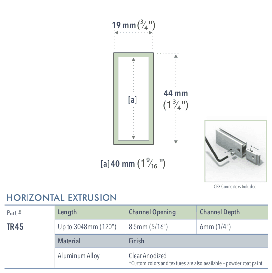 Specifications for TR45/-/L/C