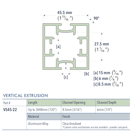 Specifications for VS45-22/-/L/C