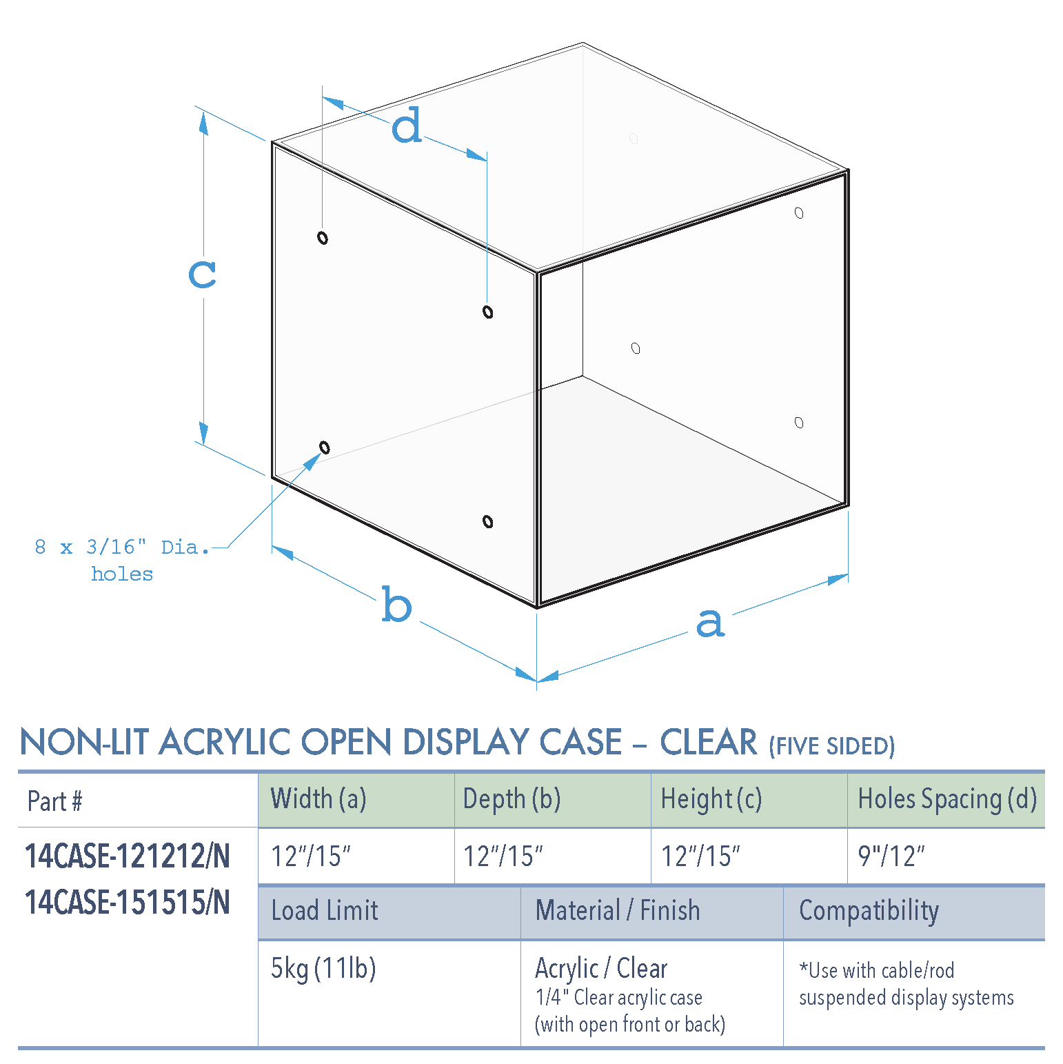 Specifications for 14CASE-CLEAR-OPEN
