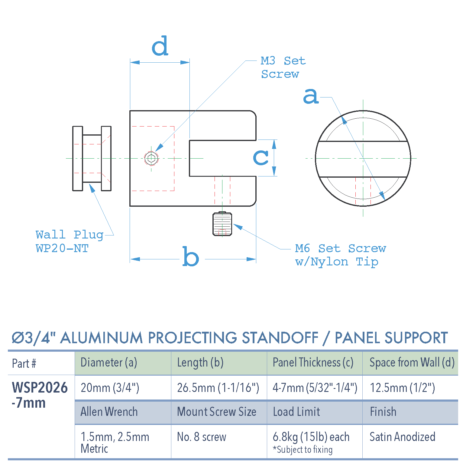 Specifications for WSP2026-7mm-AL