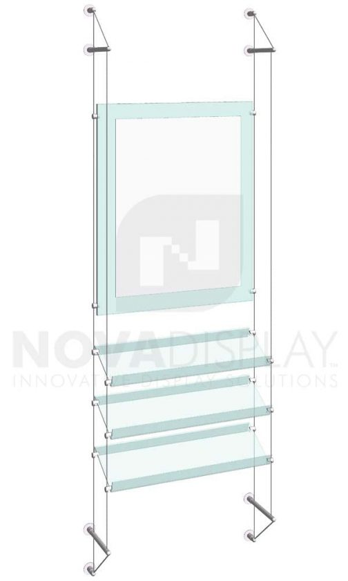 KPI-234_Easy-Access-Poster-Holder-Display-Kit-with-acrylic-shelves-cable-wall-suspended