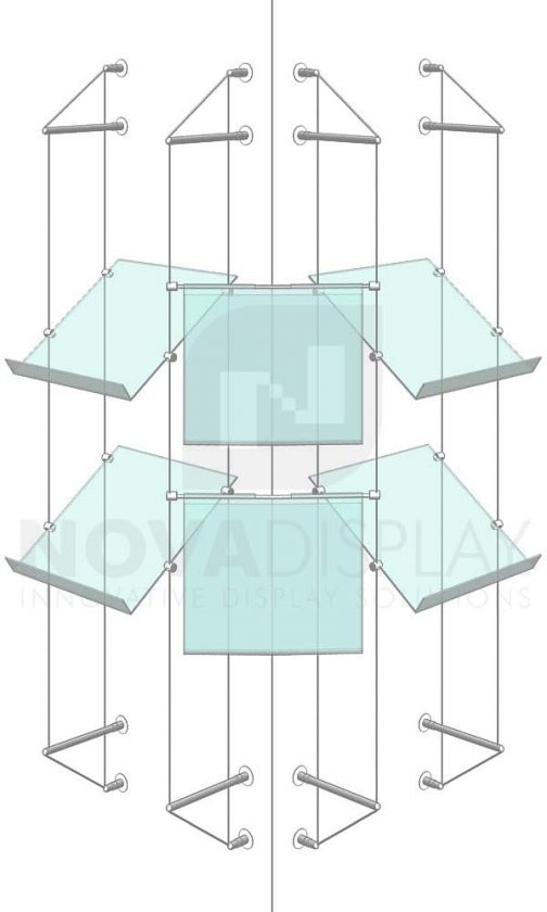 KPI-236_Easy-Access-Poster-Holder-Display-Kit-with-shelves-cable-suspended