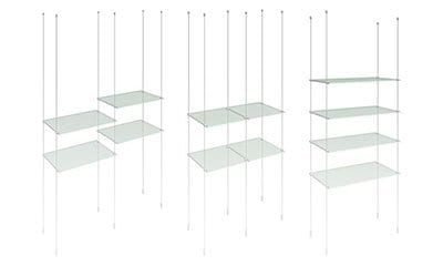 Cable/Rod Suspended Acrylic & Glass Shelves