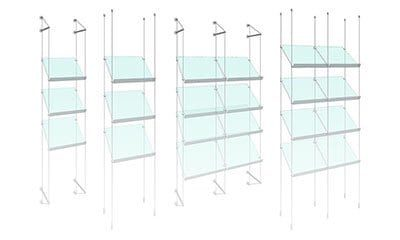 Cable/Rod Suspended Angled & Sloped Shelves