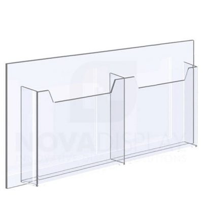 14ALD-2-8511L-25 1/8″ Clear Acrylic Leaflet Dispenser / Literature Holder – Double Pocket / Landscape