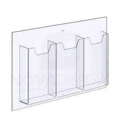 14ALD-3-3585P-IP 1/8″ Clear Acrylic Leaflet Dispenser / Literature Holder – Treble Pocket