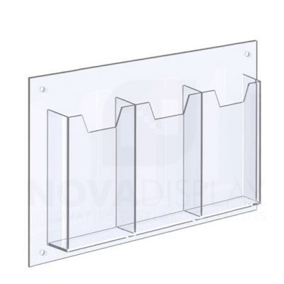 14ALD-3-3585P-RS 1/8″ Clear Acrylic Leaflet Dispenser / Literature Holder – Treble Pocket