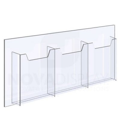 14ALD-3-8511P-28>31 1/8″ Clear Acrylic Leaflet Dispenser / Literature Holder – Treble Pocket / Portrait