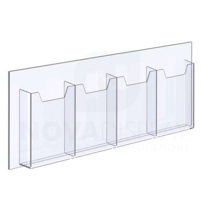 14ALD-4-6585-28 1/8″ Clear Acrylic Leaflet Dispenser / Literature Holder – Four Pocket