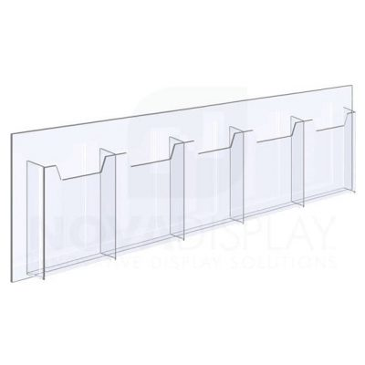 14ALD-5-0510P-28 1/8″ Clear Acrylic Leaflet Dispenser / Literature Holder – Five Pocket