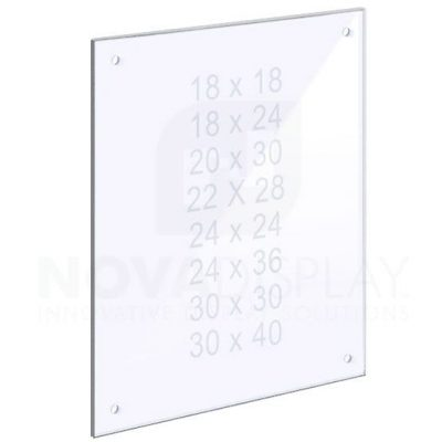 14ASP-PANEL-M8-LR 1/4″ Clear Acrylic Panel with Holes for M8 Studs – Polished Edges.