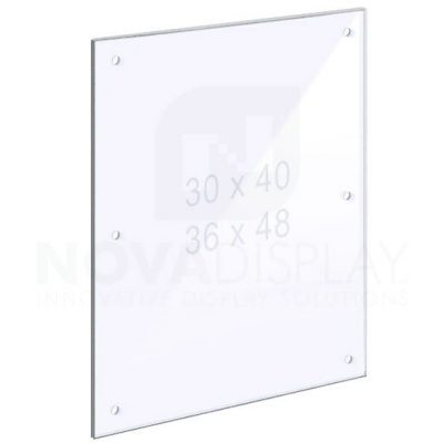 14ASP-PANEL-M8:D6-LR 1/4″ Clear Acrylic Panel with Holes for M8 Studs – Polished Edges.