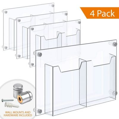 1/8″ Clear Acrylic Leaflet Dispenser / Literature Holder – Treble Pocket