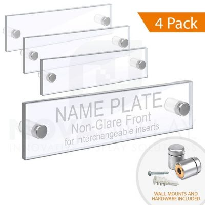 Acrylic Door Name Plate. Set of 1/8″ Clear & 1/8″ Non-Glare Acrylic Blanks with Laser-Cut Polished Edges