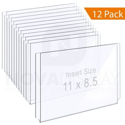 Clear Acrylic Easy Access Info/Poster Holder – Letter Format. Landscape Orientation
