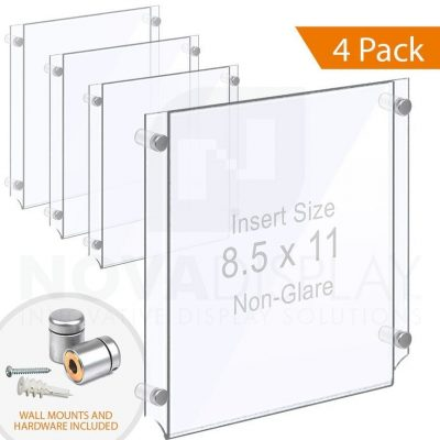 Wall Mounted Acrylic Poster Holder / Easy Access Acrylic Pocket Frame – Non-Glare / 4 pcs