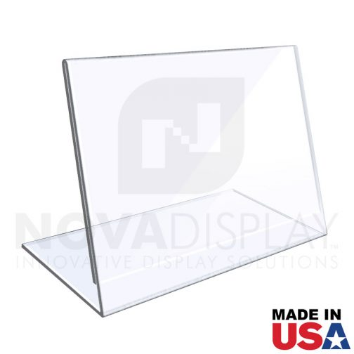 1/8″ Crystal Clear Acrylic Sign Holder / Slant Back Display Easel – Landscape Orientation