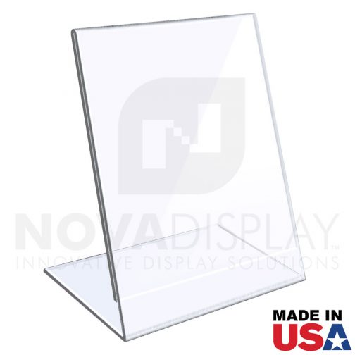 1/8″ Crystal Clear Acrylic Sign Holder / Slant Back Display Easel – Portrait Orientation