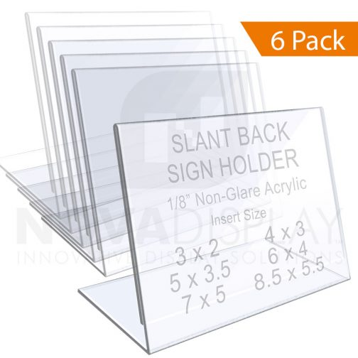 1/8″ Non-Glare Acrylic Sign Holder / Slant Back Display Easel – Landscape Orientation