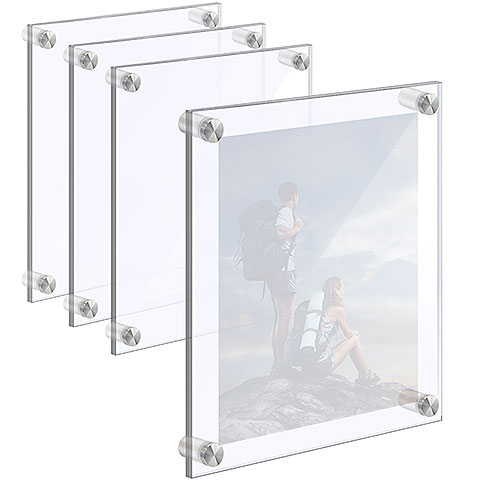 Wall Mounted/Acrylic Picture Frames with Standoffs. Set of 1/4″ Clear & 1/8″ Non-Glare Acrylic Panels with Laser-Cut Polished Edges