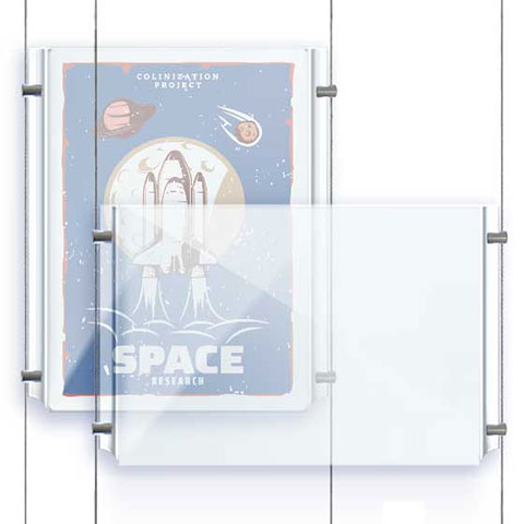 Nova Display Systems / Acrylic Easy Access Poster Holders for Cable/Rod Suspensions
