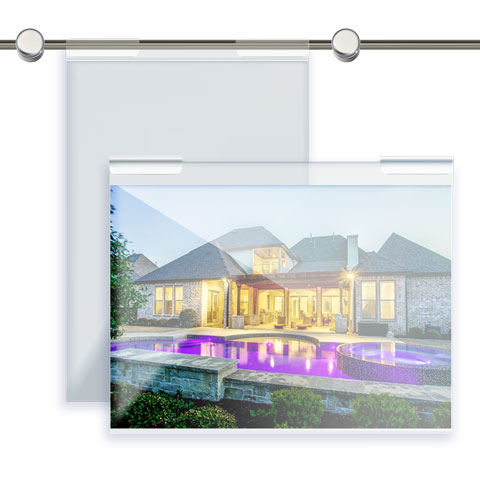 Nova Display Systems / Acrylic Hook-on Poster Holders for Horizontal Rods