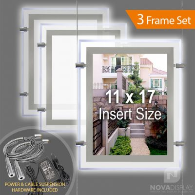 "LP-1117P Glow-Edge LED Backlit Window Display with Cable Suspension Set / Insert Size 11"" x 17"""