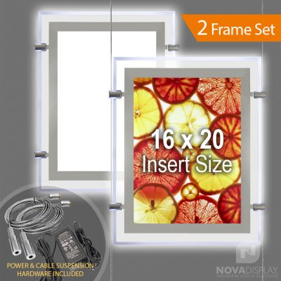 """LP-1620P Glow-Edge LED Backlit Window Display with Cable Suspension Set / Insert Size 16"""" x 20"""""""