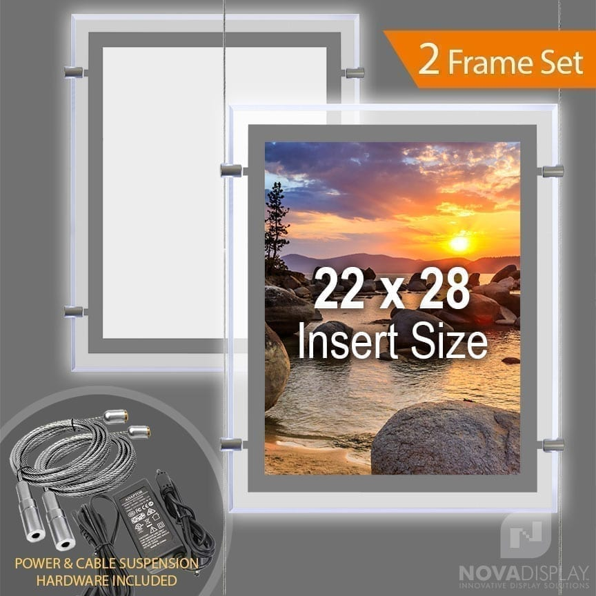 "LP-2228P Glow-Edge LED Backlit Window Display with Cable Suspension Set / Insert Size 22"" x 28"""