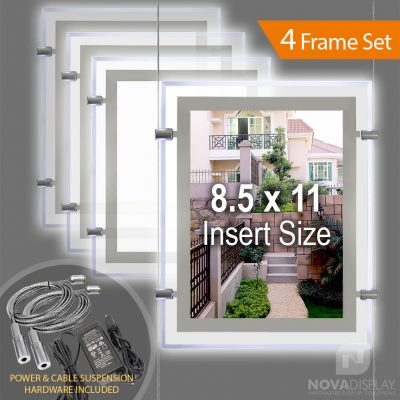 """LP-8511P Glow-Edge LED Backlit Window Display with Cable Suspension Set / Insert Size 8.5"""" x 11"""""""