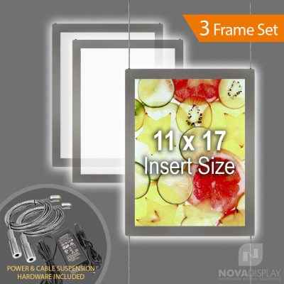 "LPC-1117P Glow-Edge LED Backlit Window Display with Cable Suspension Set / Insert Size 11"" x 17"""