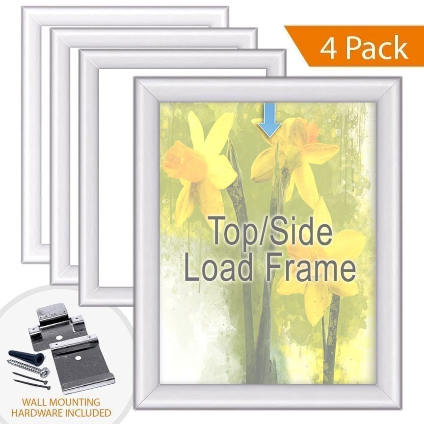 Aluminum Poster Frames with Top/Side Load Option for 1/8″ Thick Substrates / Round Frame Profile / 4 pcs