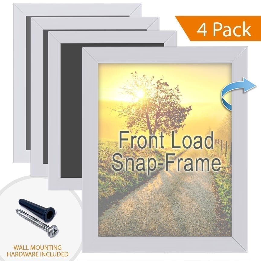 Aluminum Poster Snap Frames with Front Load Option for Thin Graphic Substrates / Square Frame Profile / 4 pcs