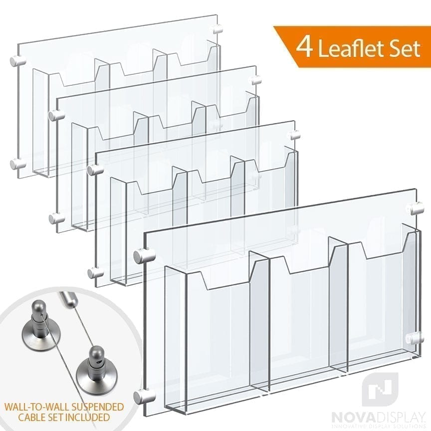 Wall-to-Wall Cable Suspended 1/8″ Clear Acrylic Literature Holder (with 1/4″ Base) – Treble Pocket / 4 PCS SET