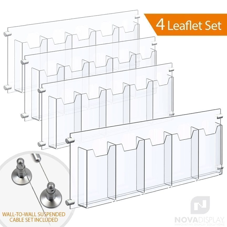 Wall-to-Wall Cable Suspended 1/8″ Clear Acrylic Literature Holder (with 1/4″ Base) – Five Pocket / 4 PCS SET