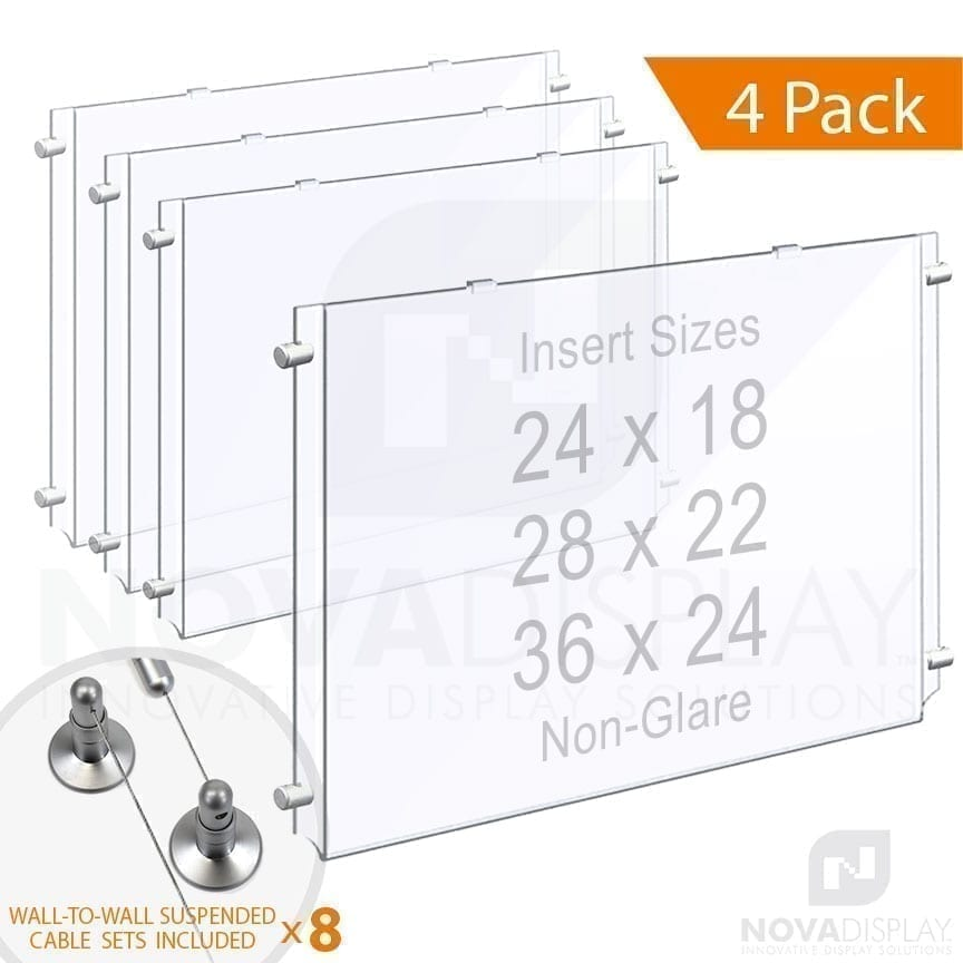 Wall-to-Wall Cable Suspended 1/8″ Non-Glare Acrylic Poster Holder / Landscape Format – Single Pocket