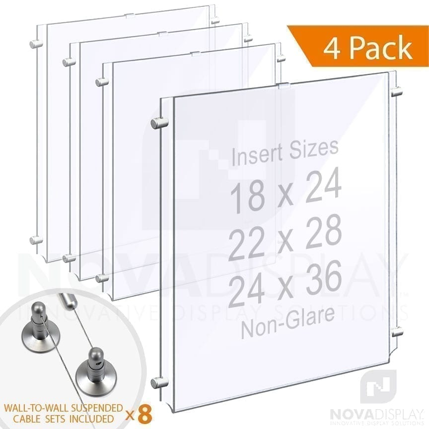 Wall-to-Wall Cable Suspended 1/8″ Non-Glare Acrylic Poster Holder / Portrait Format – Single Pocket
