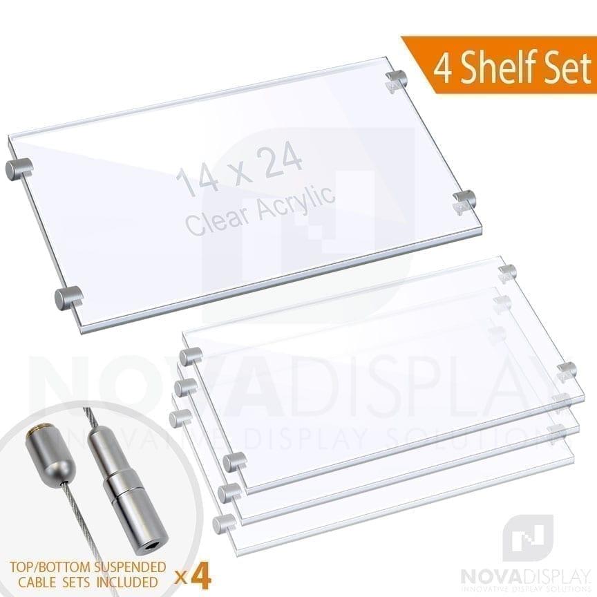 Cable Suspended 3/8″ Clear Acrylic Shelf Display with Laser-Cut Polished Edges
