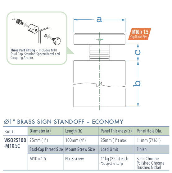 Specifications for WSO25100-M10 SS