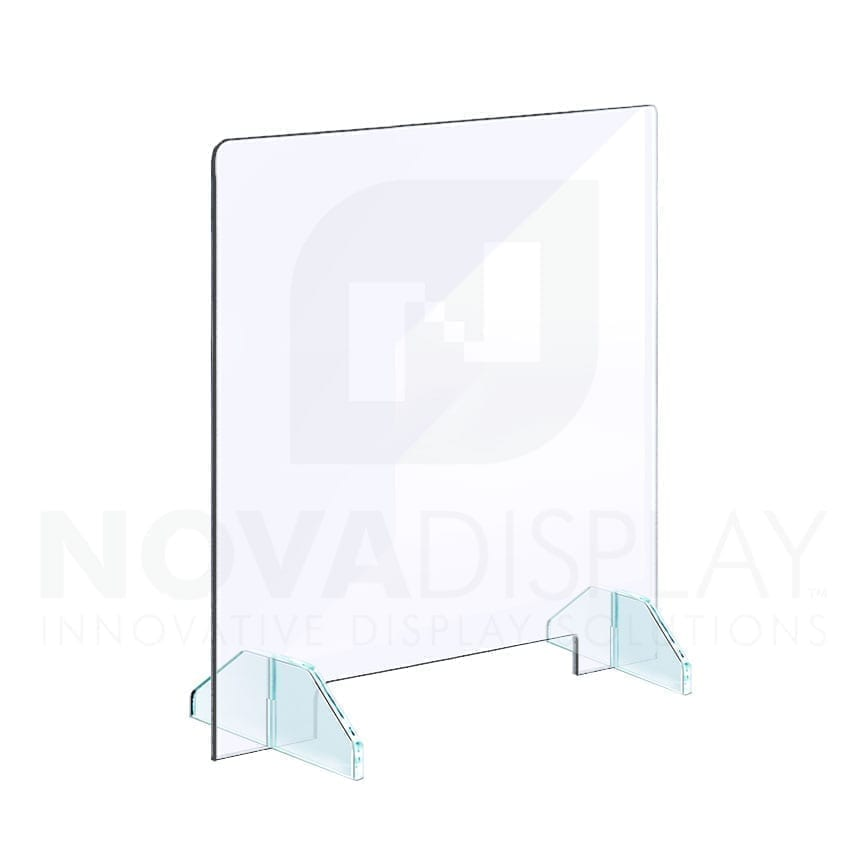 Clear Acrylic Sneeze Guard with Removable Acrylic Base / Free-standing