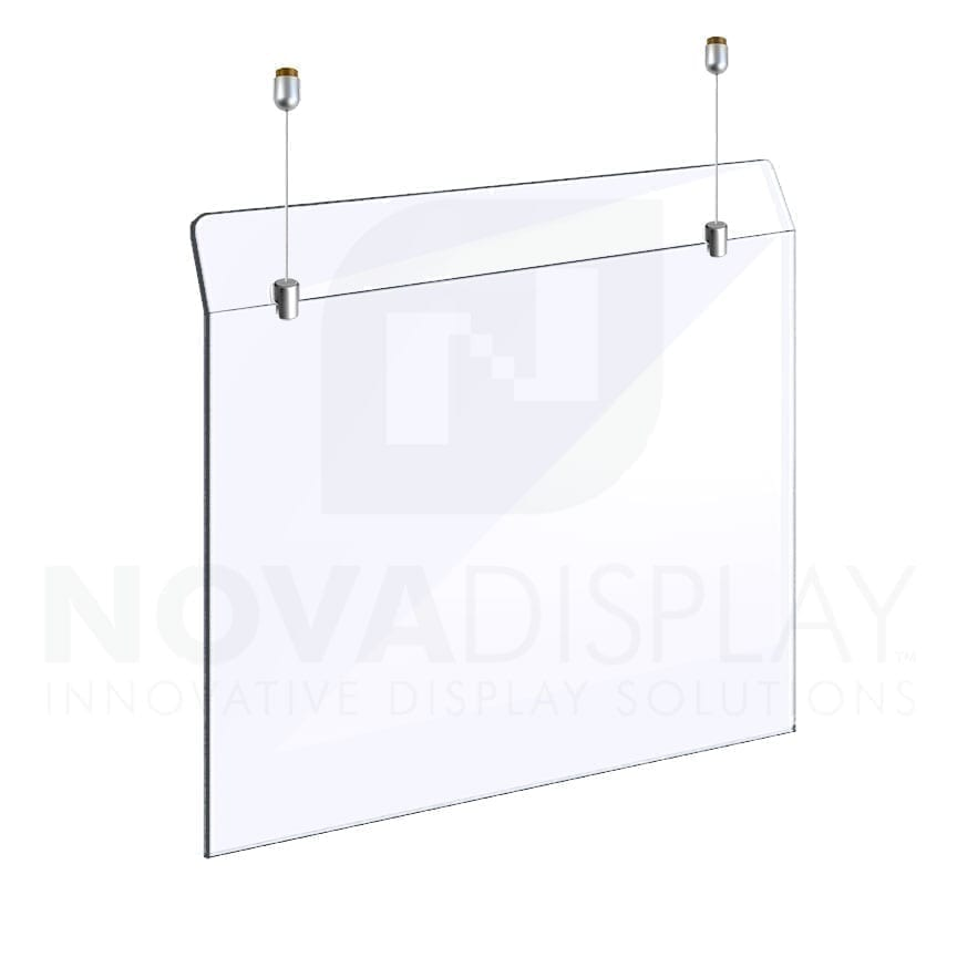 Countertop Acrylic Sneeze Guard – Suspended on Cable Display System