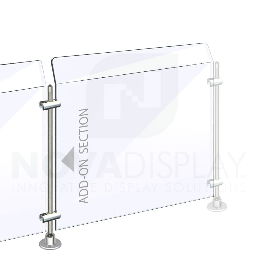 Countertop Acrylic Sneeze Guard / Modular – Supported with 10mm Dia. Rod Display Systems