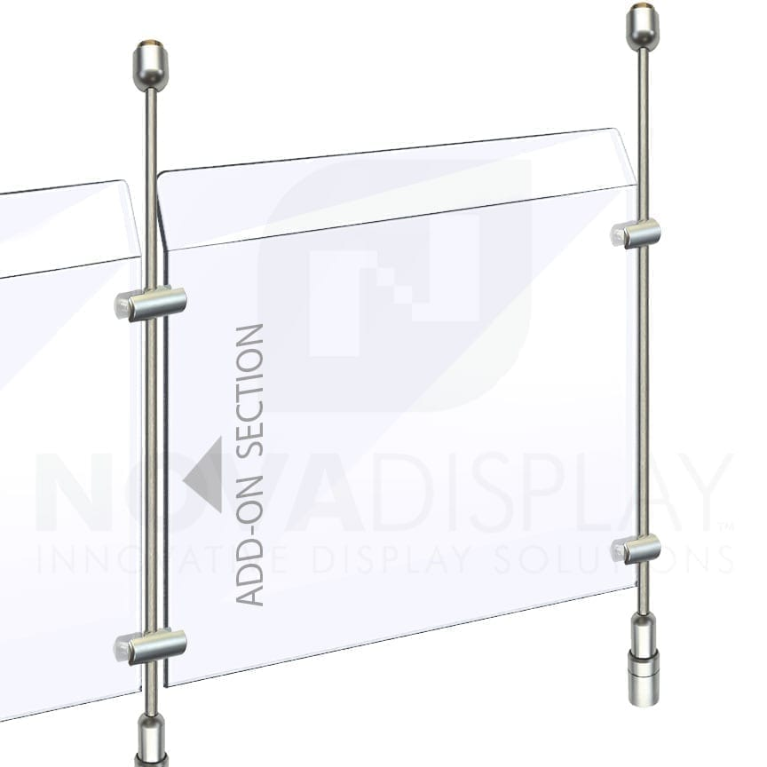 Countertop Acrylic Sneeze Guard / Modular – Suspended on 6mm Dia. Rod Display Systems (up to 10 feet high)