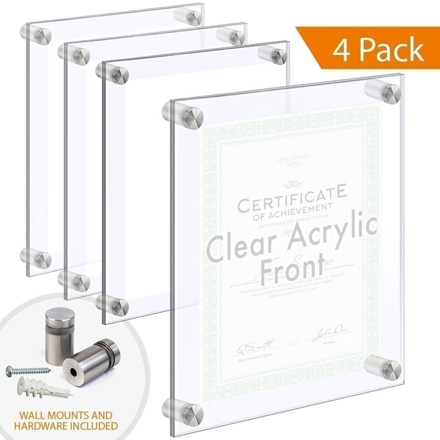 Economy Clear Acrylic Frames Wall Mounted with Standoffs